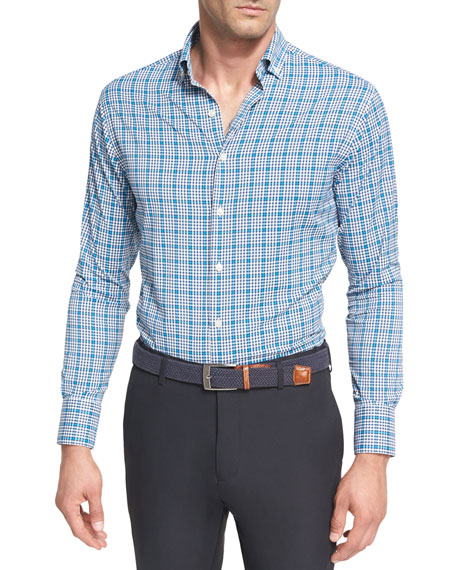 Peter Millar Crown Sport Crispy Check Performance Shirt,