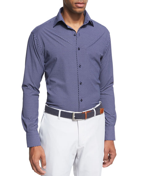 Peter Millar Crown Sport Chex Square-Print Performance Shirt,