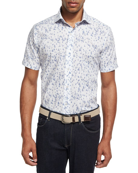 Peter Millar Collection Smooth Sailin' Short-Sleeve Sport Shirt,