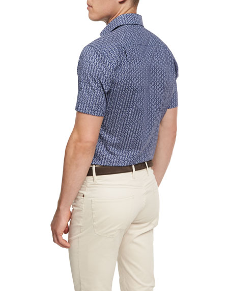 Collection Roman Holiday Short-Sleeve Sport Shirt, Blue