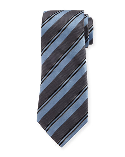 Wide Rep Stripe Silk Tie, Light Blue