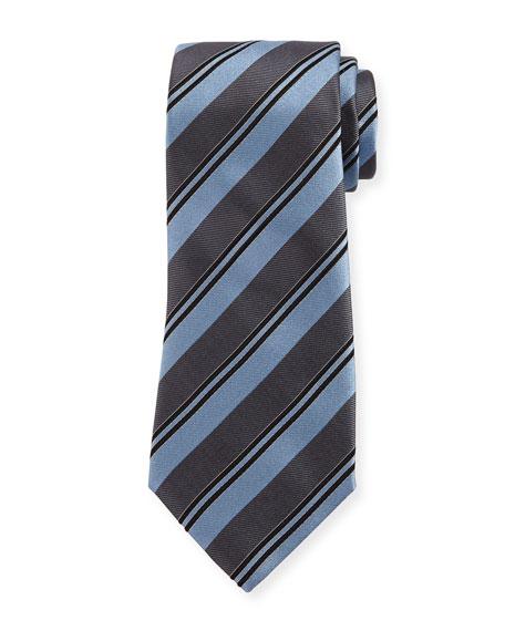 Armani Collezioni Wide Rep Stripe Silk Tie, Light