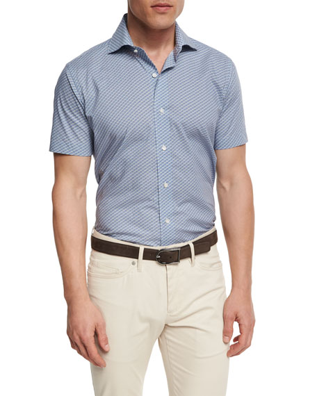 Peter Millar Collection Coastal Collage Short-Sleeve Sport Shirt,