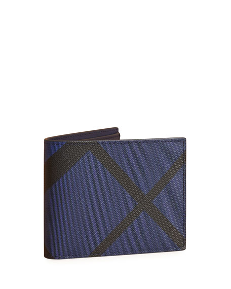 Burberry London Check Bi-Fold Wallet, Blue