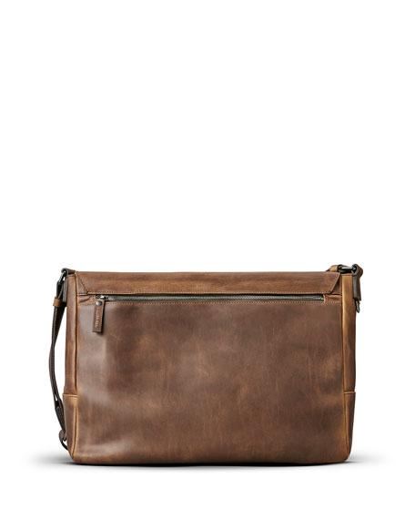 East-West Leather Messenger Bag, Medium Brown