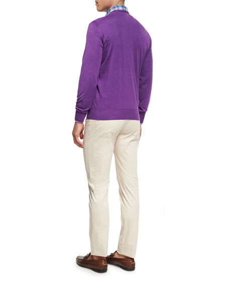 Merino Wool-Silk V-Neck Sweater