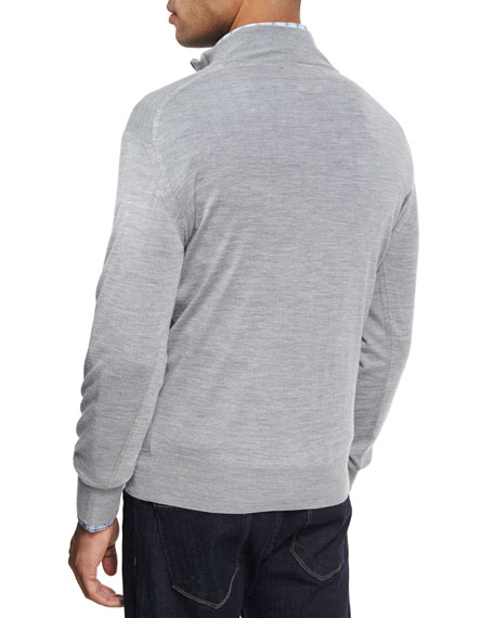Collection Merino Wool-Silk Quarter-Zip Sweater, Charcoal