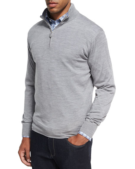 Peter Millar Collection Merino Wool-Silk Quarter-Zip Sweater,