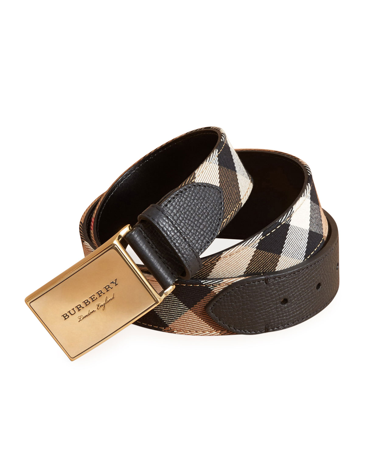 46b7dd7505a Burberry George Check Cotton   Leather Belt