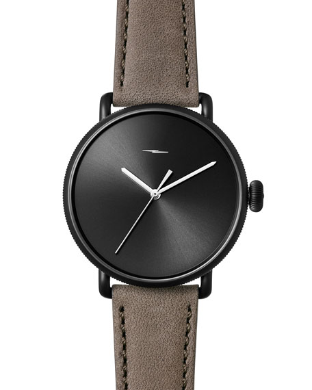 Shinola 42mm Canfield Bolt Watch, Black/Gray