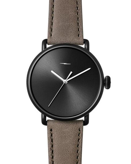 Shinola 42mm Canfield Bolt Watch, Black/Gray