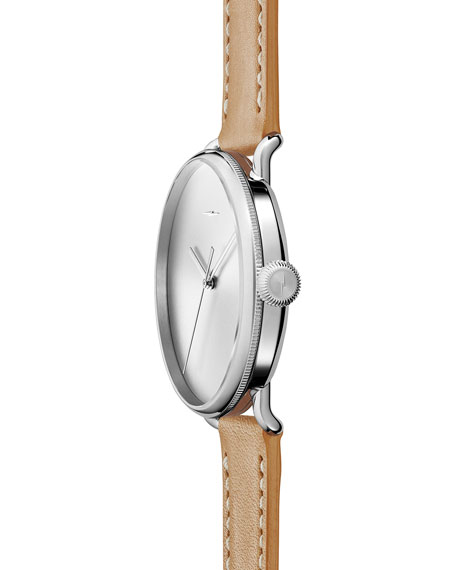 42mm Canfield Bolt Watch, Silver/Natural