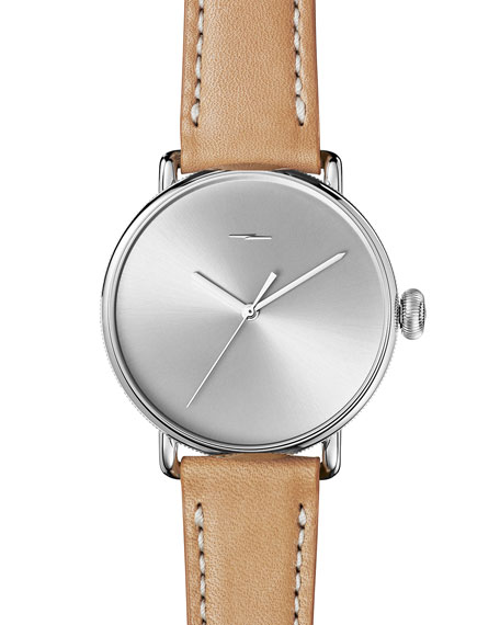 Shinola 42mm Canfield Bolt Watch, Silver/Natural