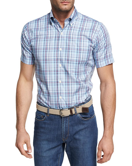 Peak Plaid Short-Sleeve Sport Shirt, Light Blue