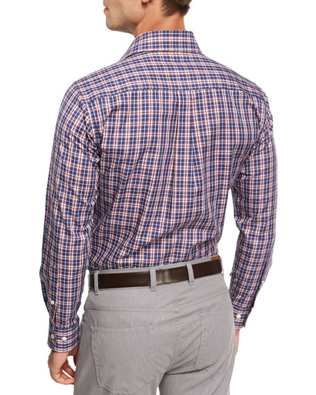 Mitchell Plaid Sport Shirt, Blue