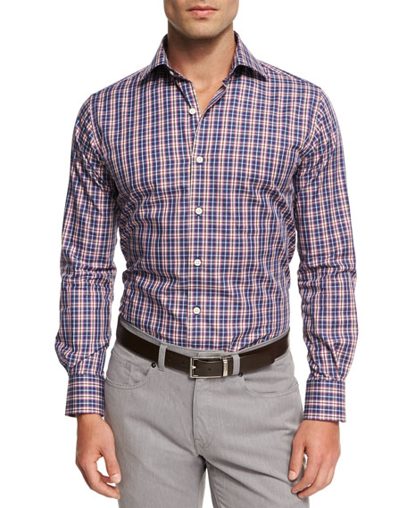 Peter Millar Mitchell Plaid Sport Shirt, Blue