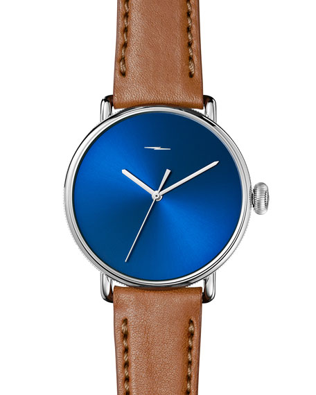 Shinola 42mm Canfield Bolt Watch, Blue/Bourbon