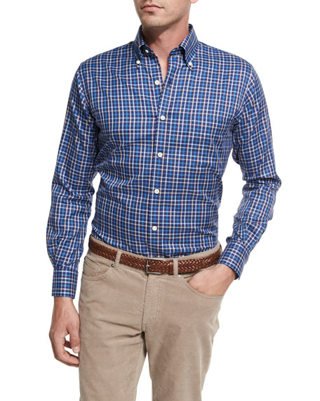 Peter Millar NanoLuxe Pinwheel Plaid Sport Shirt, Navy