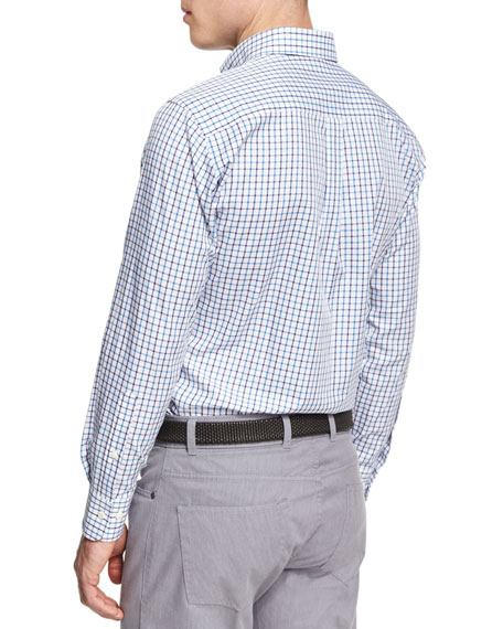 Crown Wellington Tattersall Sport Shirt, Blue