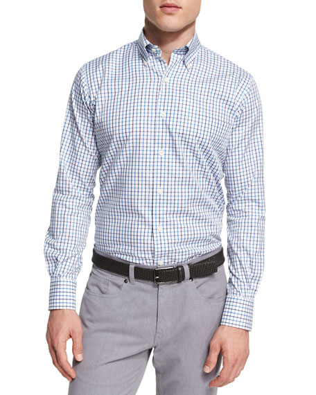 Peter Millar Crown Wellington Tattersall Sport Shirt, Blue