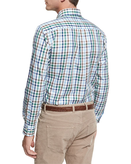 Crown Trail Check Sport Shirt, Green