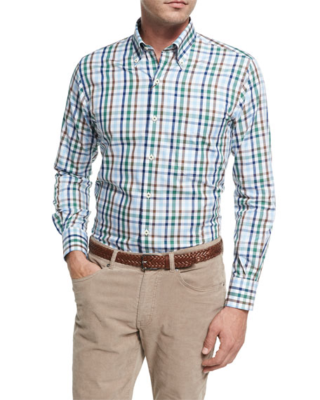 Peter Millar Crown Trail Check Sport Shirt, Green
