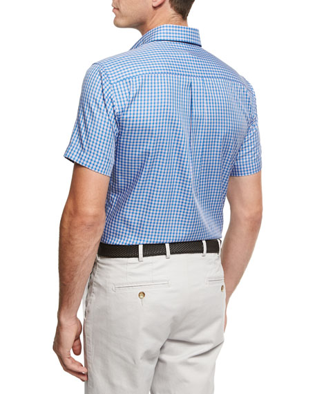 Crown Soft Check Short-Sleeve Cotton Sport Shirt, Blue