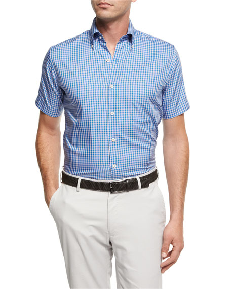 Peter Millar Crown Soft Check Short-Sleeve Cotton Sport