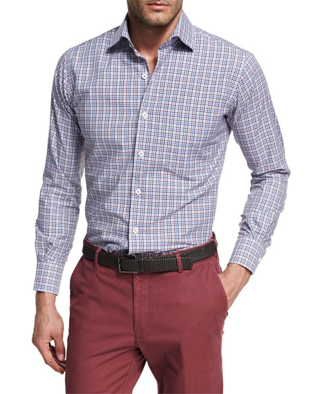 Peter Millar Crown Finish Vine Check Sport Shirt,