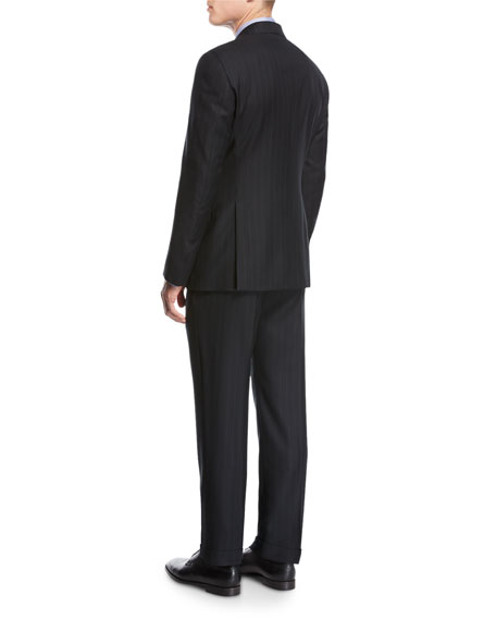 Striped Virgin Wool Two-Piece Suit, Black