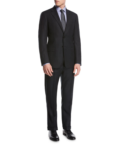 Giorgio Armani Striped Virgin Wool Two-Piece Suit, Black