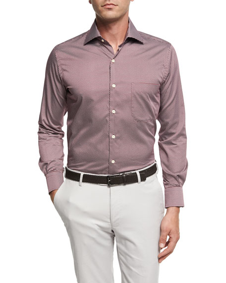 Peter Millar Single Flame Cotton Sport Shirt, Wine