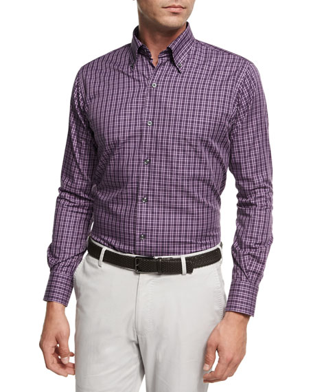 Peter Millar Autumn Check Cotton Sport Shirt, Purple