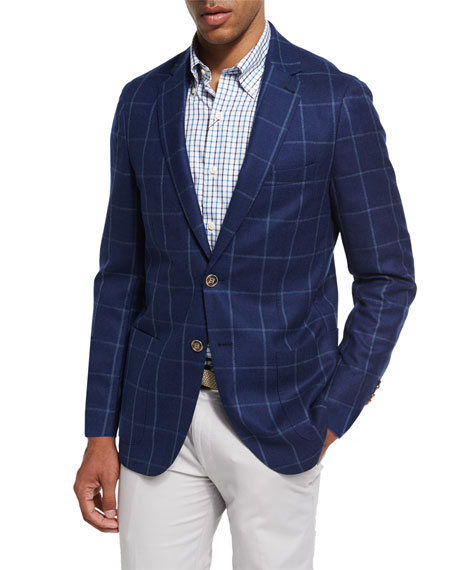 Large Windowpane Wool Soft Sport Jacket, Navy