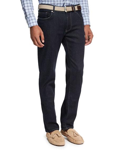 Vintage-Wash Denim Straight-Leg Jeans, Blue