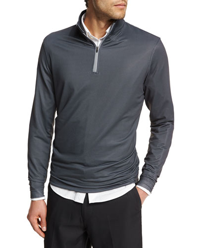 Crown Sport Perth Diamond-Print Quarter-Zip Sweater