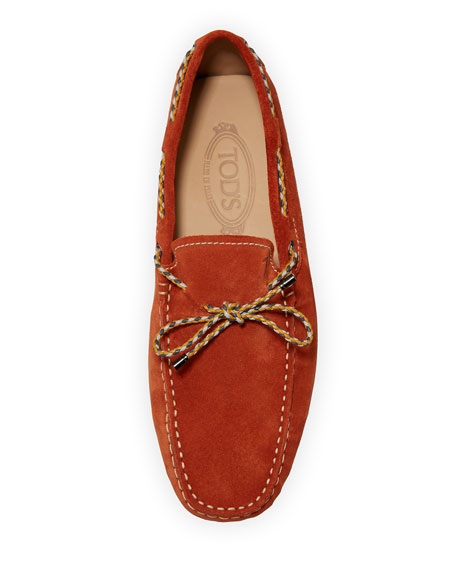 Gommini Suede Driver with Braided Tie, Orange
