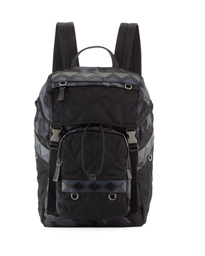 Tessuto Impunturato Camouflage Backpack