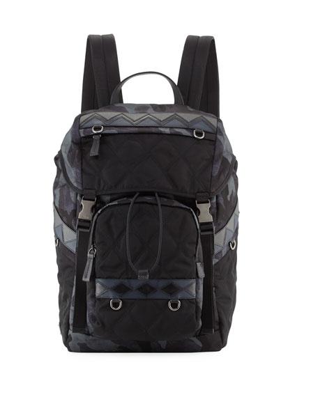 Prada Tessuto Impunturato Camouflage Backpack