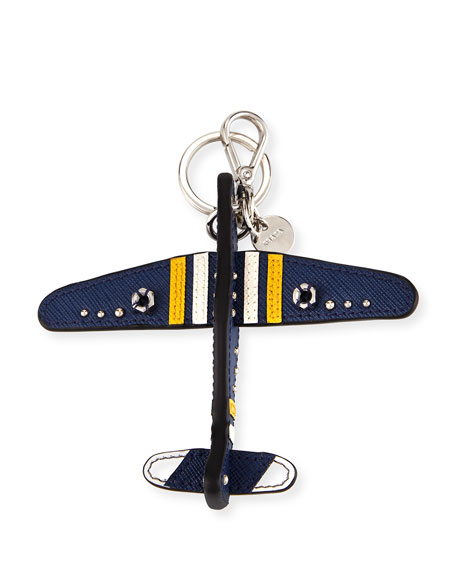 Prada Saffiano Airplane Key Chain