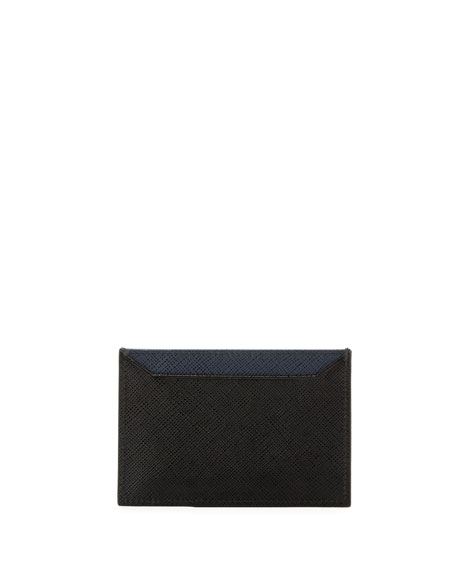 Saffiano Bicolor Leather Card Case