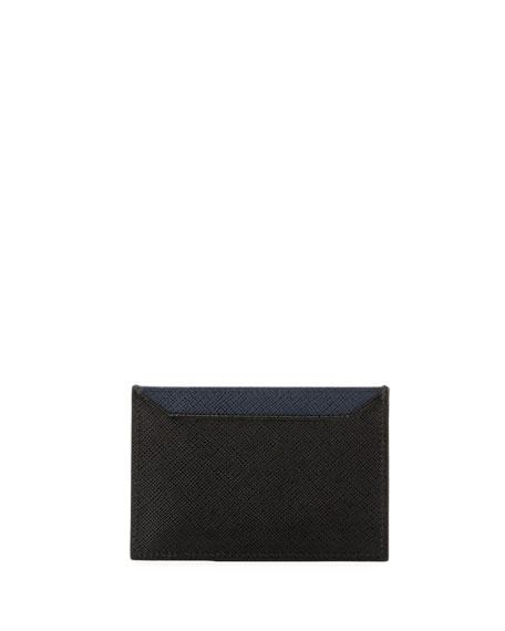 Saffiano Bicolor Leather Card Case
