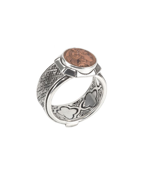 Men's Aeolus Sterling Silver & Scylla Copper Coin Ring