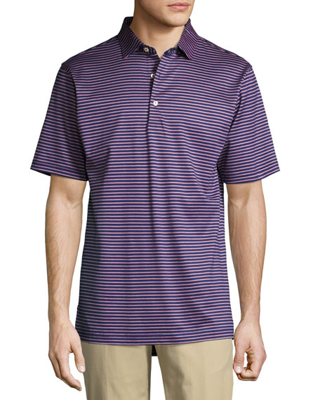 Crown Gardener Striped Cotton Lisle Polo Shirt, Medium Blue