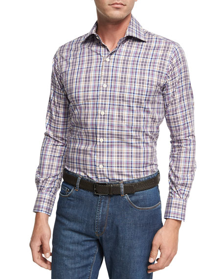Peter Millar Destination Melange Plaid Sport Shirt, Purple