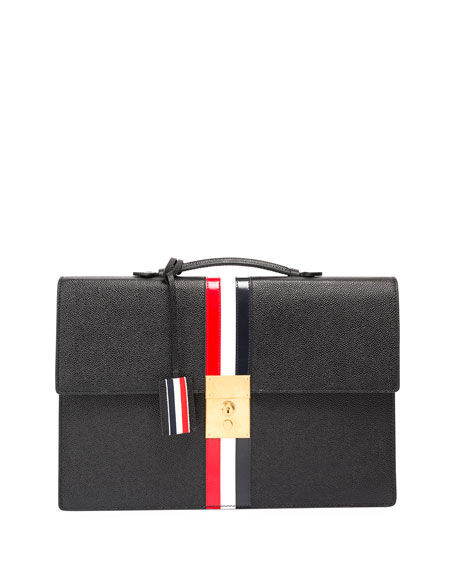 Thom Browne Leather Attache Case with Tricolor Stripes,