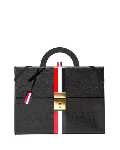 Thom Browne Trompe l'Oeil Slim Leather Attache Case,