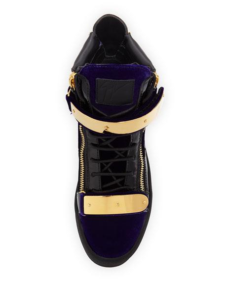 Men's Velvet Double-Bar High-Top Sneaker