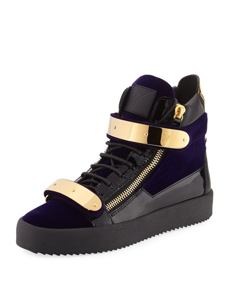 Giuseppe Zanotti Men's Velvet Double-Bar High-Top Sneaker