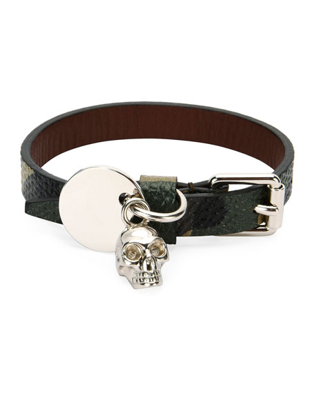 Alexander McQueen Men's Leather Skeleton Charm Bracelet, Black